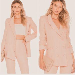Lovers + Friends fanning pink linen blazer